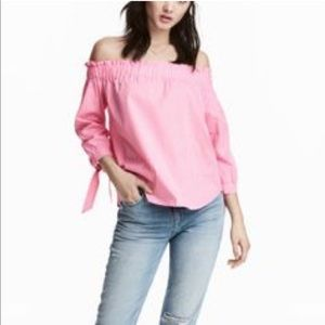 NWT! H&M pink gingham off the shoulder top